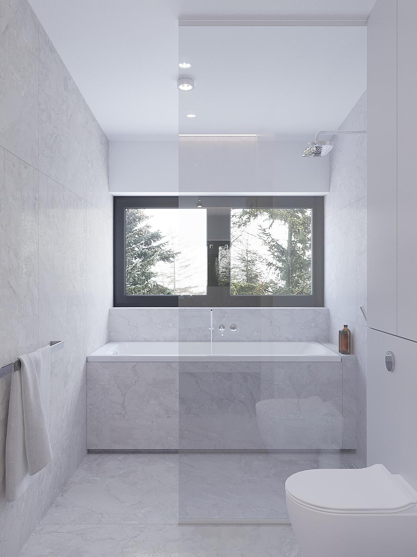 18 projekty wnetrz D495 dom Krakow lazienka wanna pod oknem wanna z prysznicem szare duze plytki