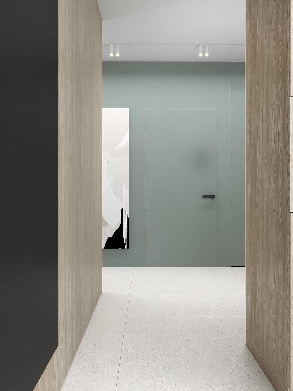 2 aranzacja wnetrz M523 mieszaknie Chorzow korytarz drzwi ukryte zielona sciana drewniana zabudowa szare plytki