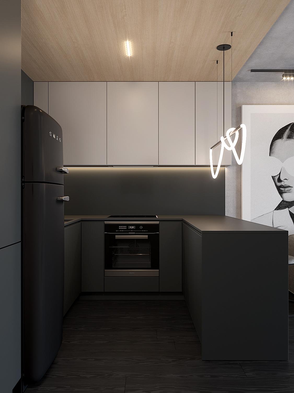2 aranzacja wnetrz M598 mieszkanie Krakow kuchnia czarne fronty czarny blat drewniany sufit lodowka smeg