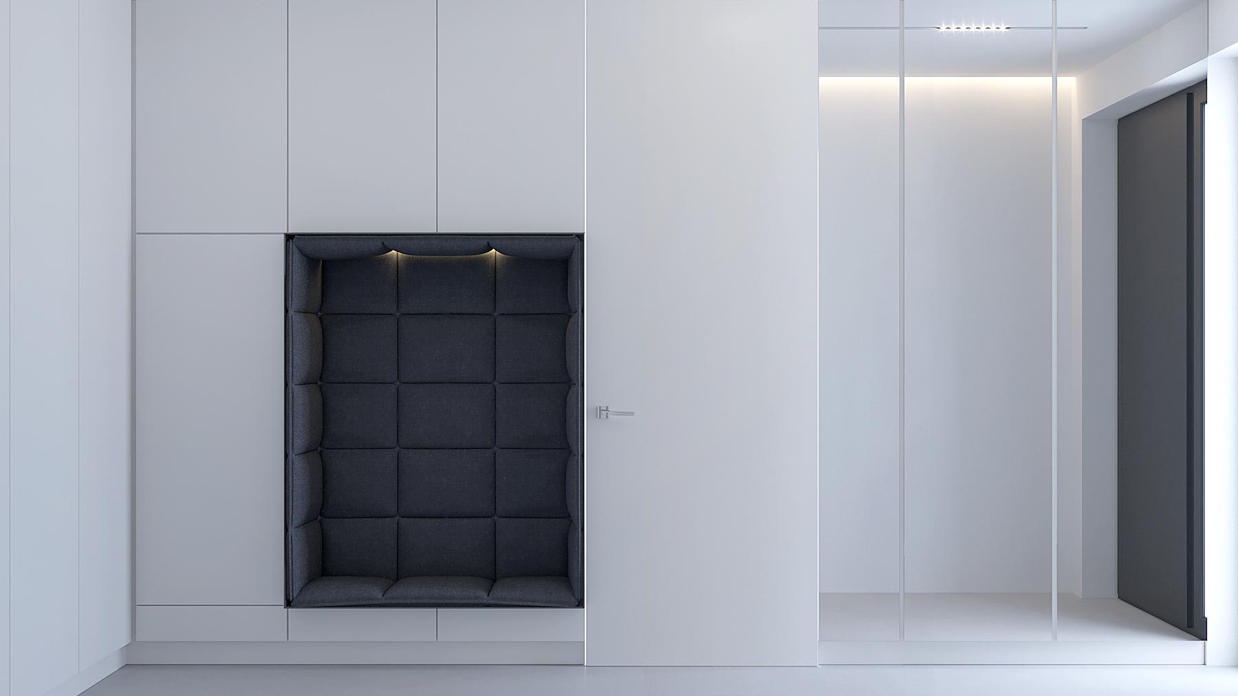 2 projektowanie wnetrz D557 dom Bibice wiatrolap biala zabudowa meblowa z siedziskiem lustrzana sciana