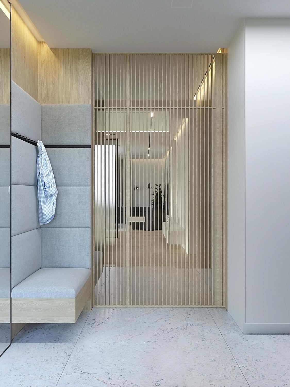2 projket wnetrz D555 dom Libertow wiatrolap siedzisko szara tapicerka przeszklone drzwi
