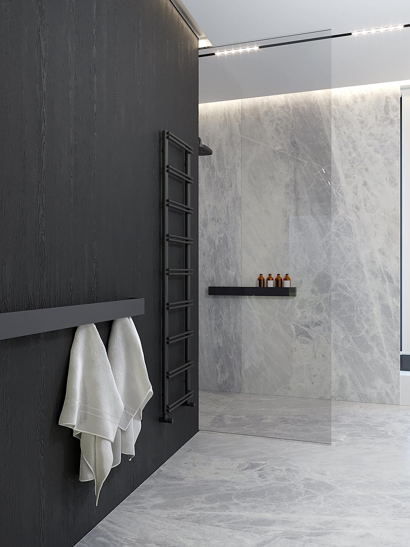 20 projket wnetrz D555 dom Libertow lazienka prysznic walk in szare plytki czarne drewno wieszak w lazience