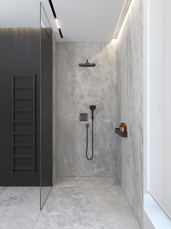 21 projket wnetrz D555 dom Libertow lazienka czarne baterie szare kamienne plytki grzejnik drabinka prysznic walk in