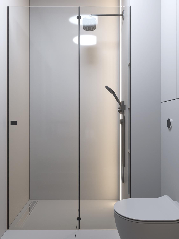 23 projket wnetrz D555 dom Libertow lazienka z prysznicem szare plytki
