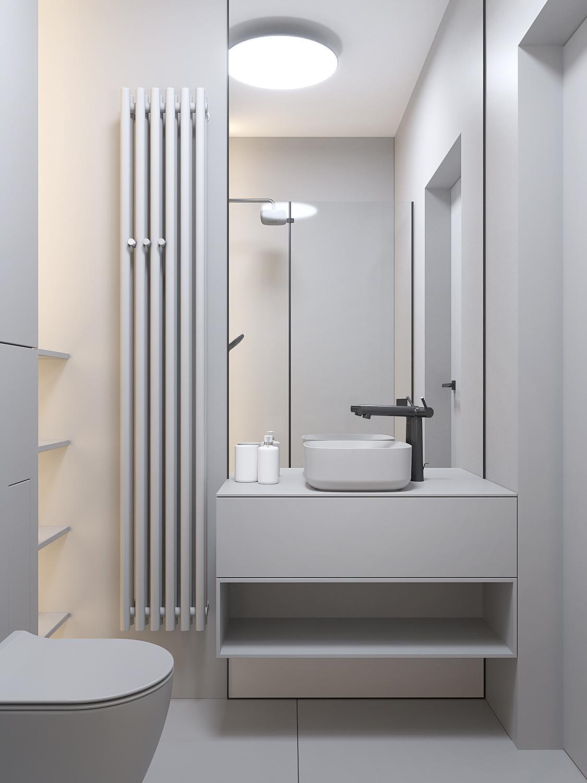 24 projket wnetrz D555 dom Libertow lazienka duze lustro szafka umywalkowa szara