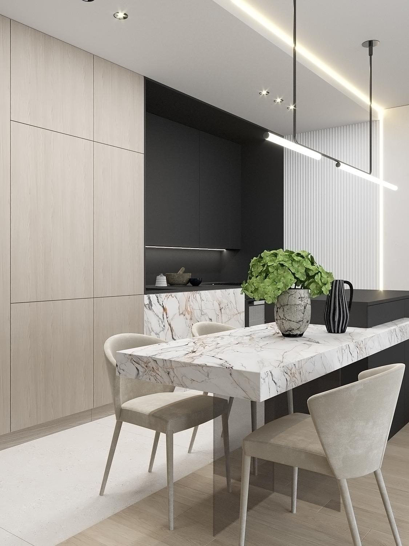 3 aranzacja wnetrz M523 mieszkanie Chorzow kuchnia z jadalnia wyspa polaczona ze stolem grafitowa zabudowa kuchenna drewniane fronty