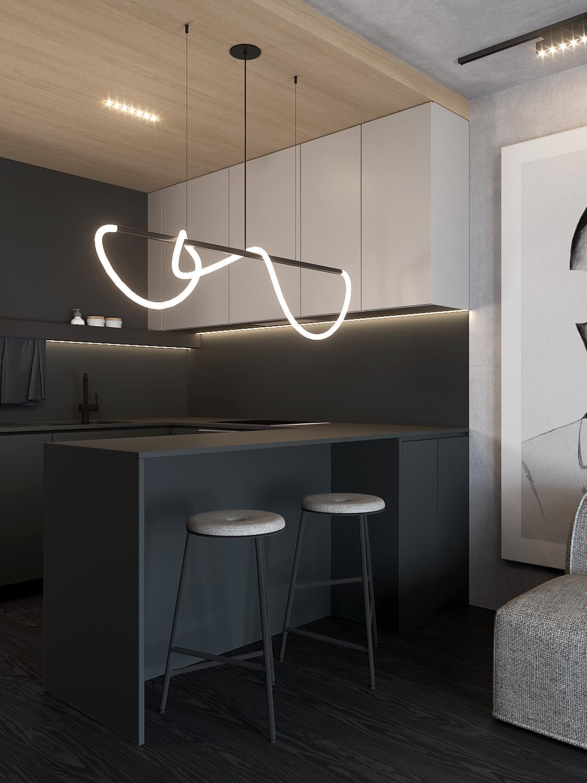 3 aranzacja wnetrz M598 mieszkanie Krakow kuchnia czarna polwyspa lampa wiszaca hokery metalowe
