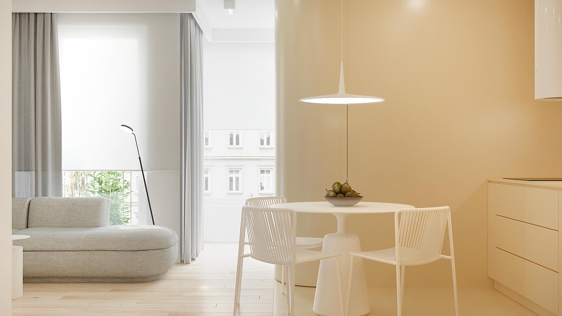 3 aranzowanie wnetrz M378 mieszkanie Katowice kuchnia z salonem maly stol z krzeslami nietypowa kuchnia zlota wneka