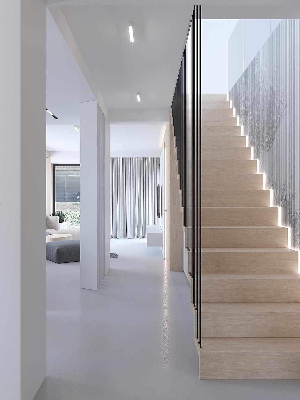 3 projektowanie wnetrz D557 dom Bibice klatka schodowa drewnie schody dwyanowe balustrada prety metlowe podswietlane stopnie