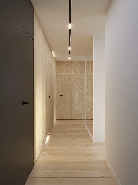 3 projket wnetrz D555 dom Libertow korytarz drzwi ukryte sciana fornirowana grafitowy kolor drewno na podlodze