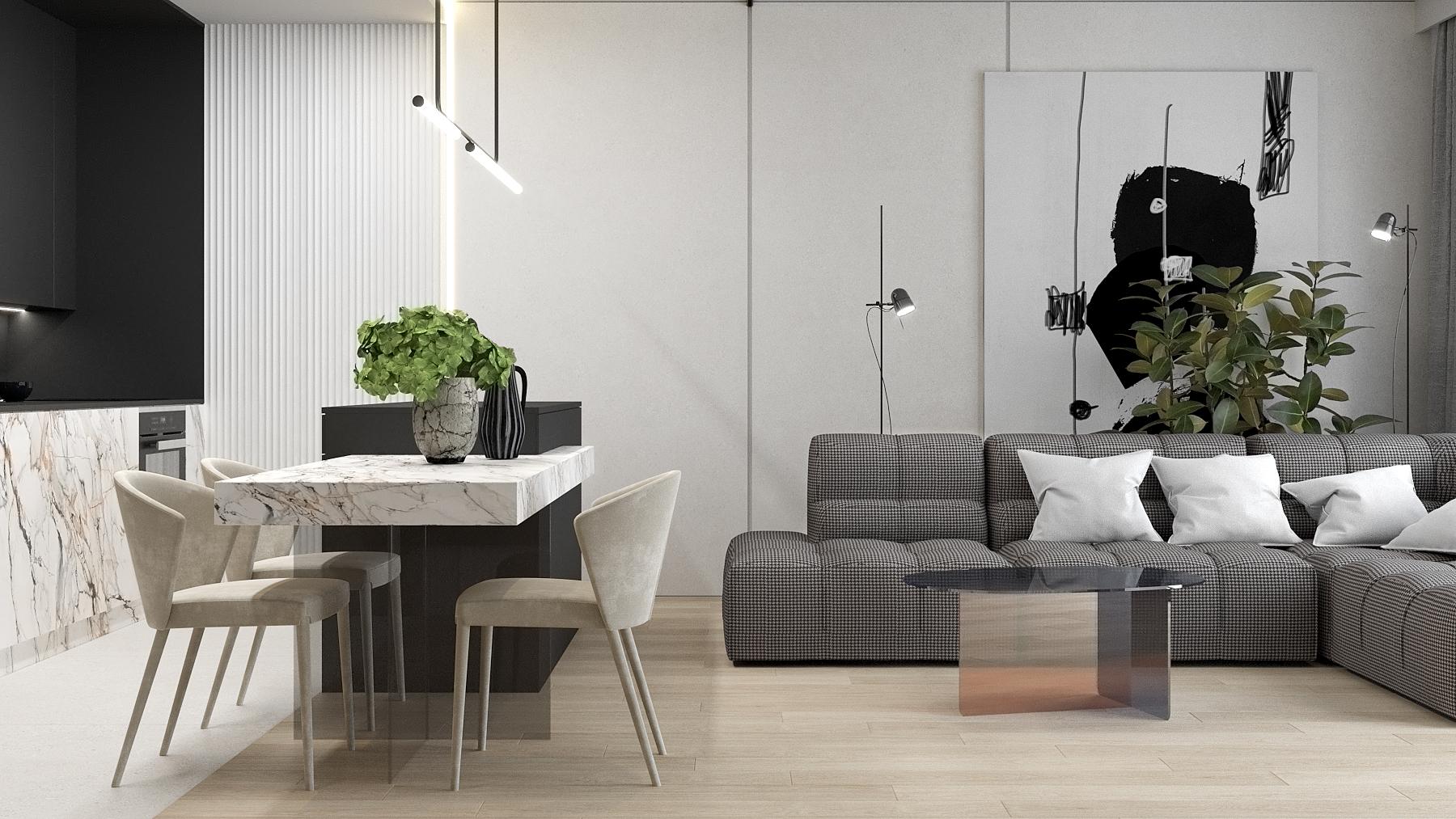 4 aranzacja wnetrz M523 mieszkanie Chorzow salon z kuchnia kamienny blat kammienne fornty duza sofa narozna stol polaczony z wyspa kuchenna