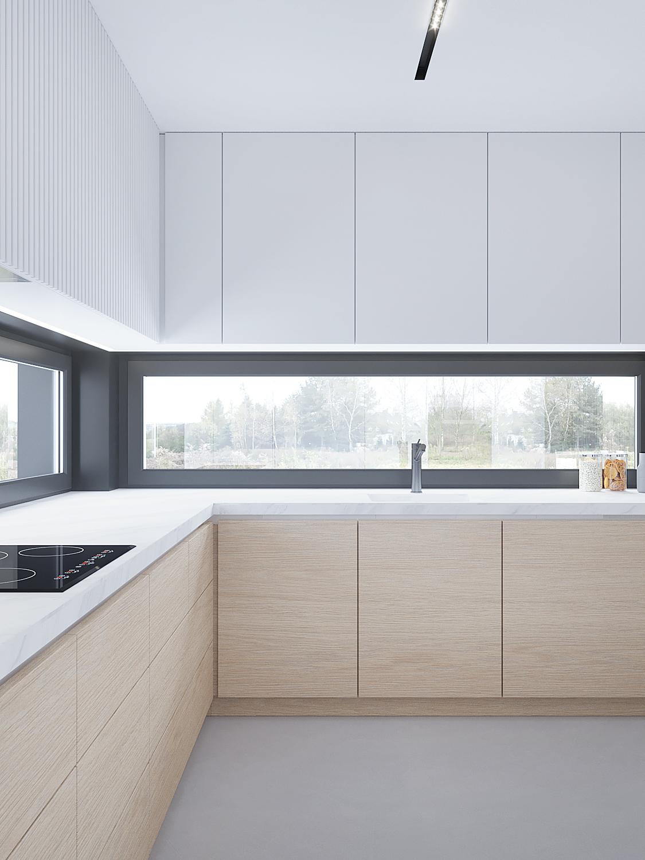 projektowanie wnetrz D557 dom Bibice kuchnia drewniane fronty kamienny blat kuchenny niskie okno frezowane fronty