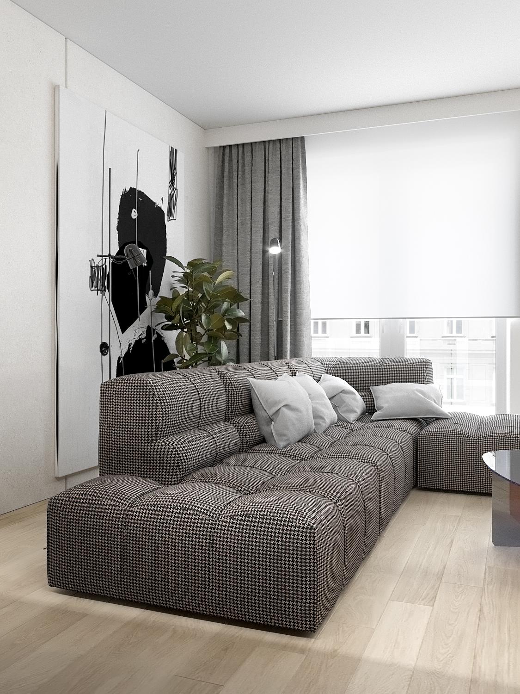 5 aranzacja wnetrz M523 mieszkanie Chorzow salon sofa w kratke drewno na podlodze duzy obraz na scianie szklany stolik kawowy