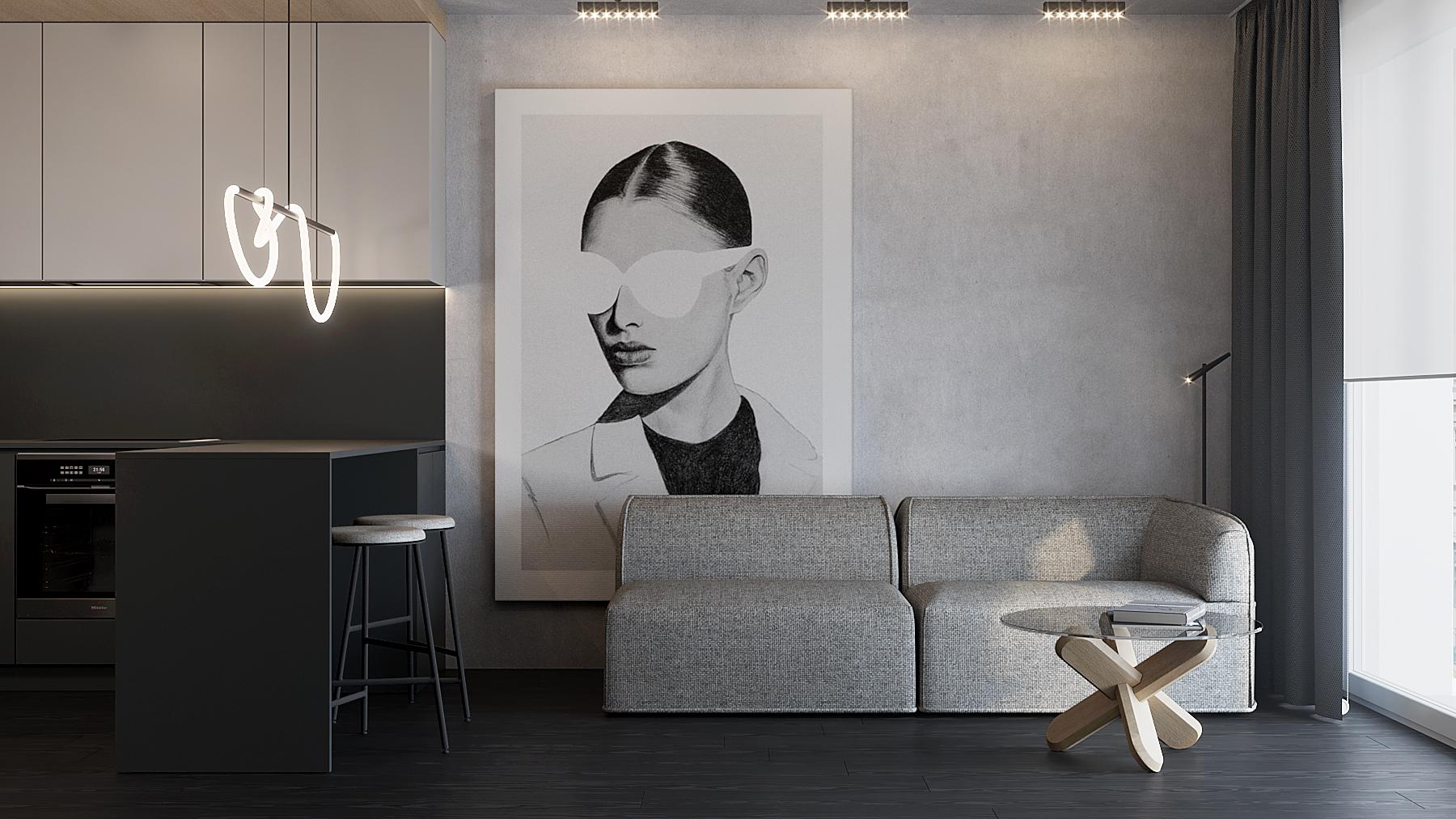 5 aranzacja wnetrz M598 mieszkanie Krakow salon z kuchnia szara sofa szklany stolki beton na scianie czarna podloga drewniana