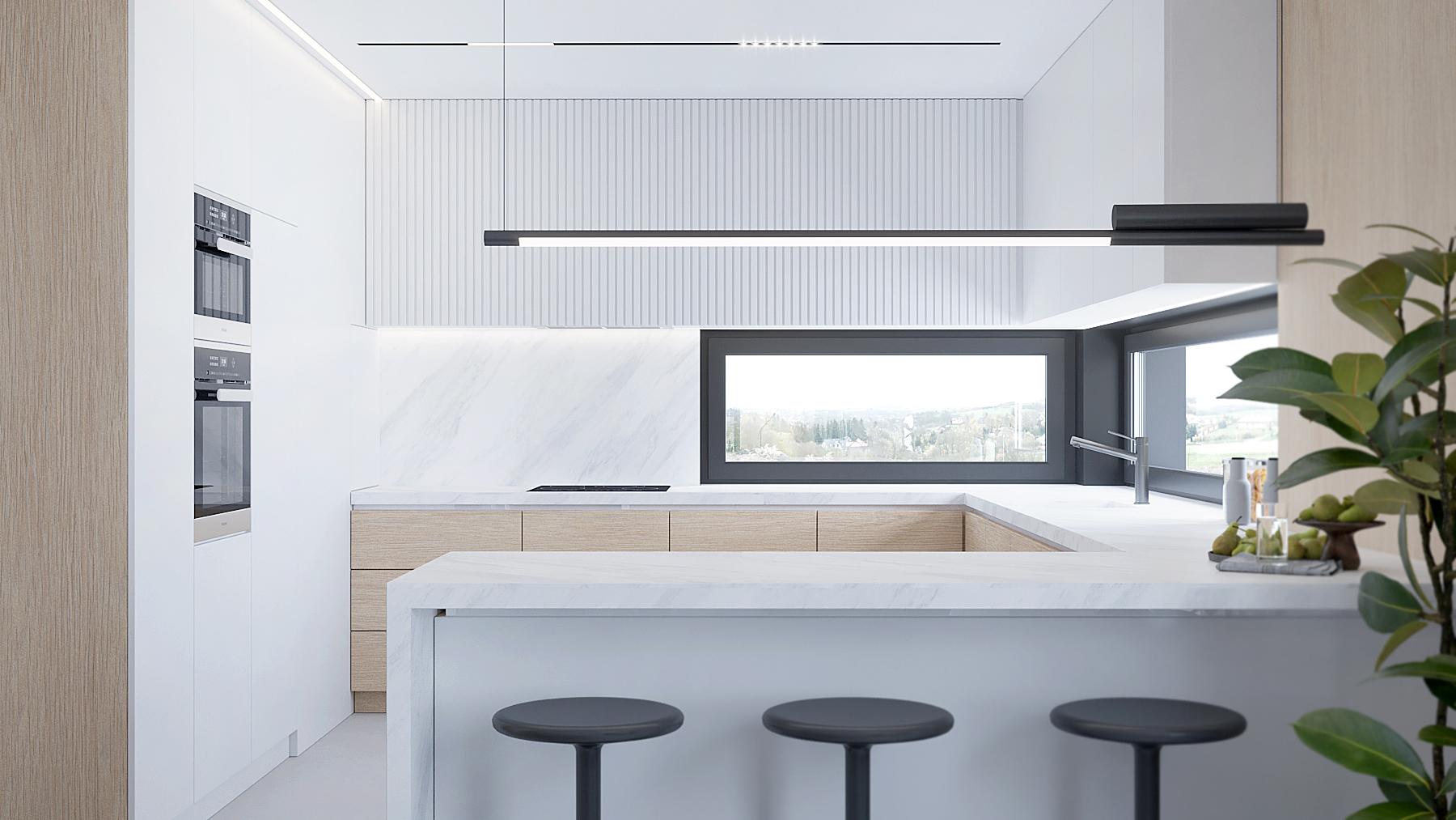 5 projektowanie wnetrz D557 dom Bibice kuchnia bialo drewniane fronty polwyspa z czarnymi hokerami lampa nad wyspa5 projektowanie wnetrz D557 dom Bibice kuchnia bialo drewniane fronty polwyspa z czarnymi hokerami lampa nad wyspa