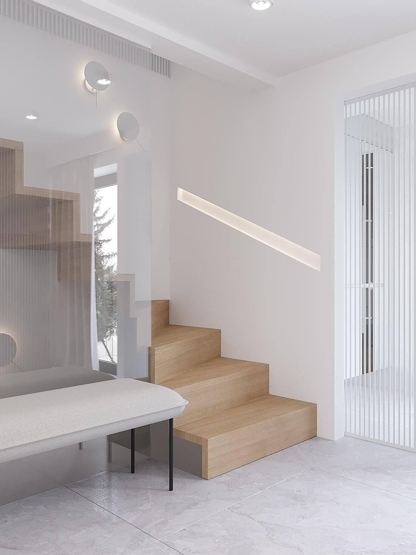 5 projekty wnetrz D495 dom Krakow hol z klatka schodowa schody zabiegowe drewniane balustrada wpuszczana w sciane przeszkolnae drzwi przesuwne