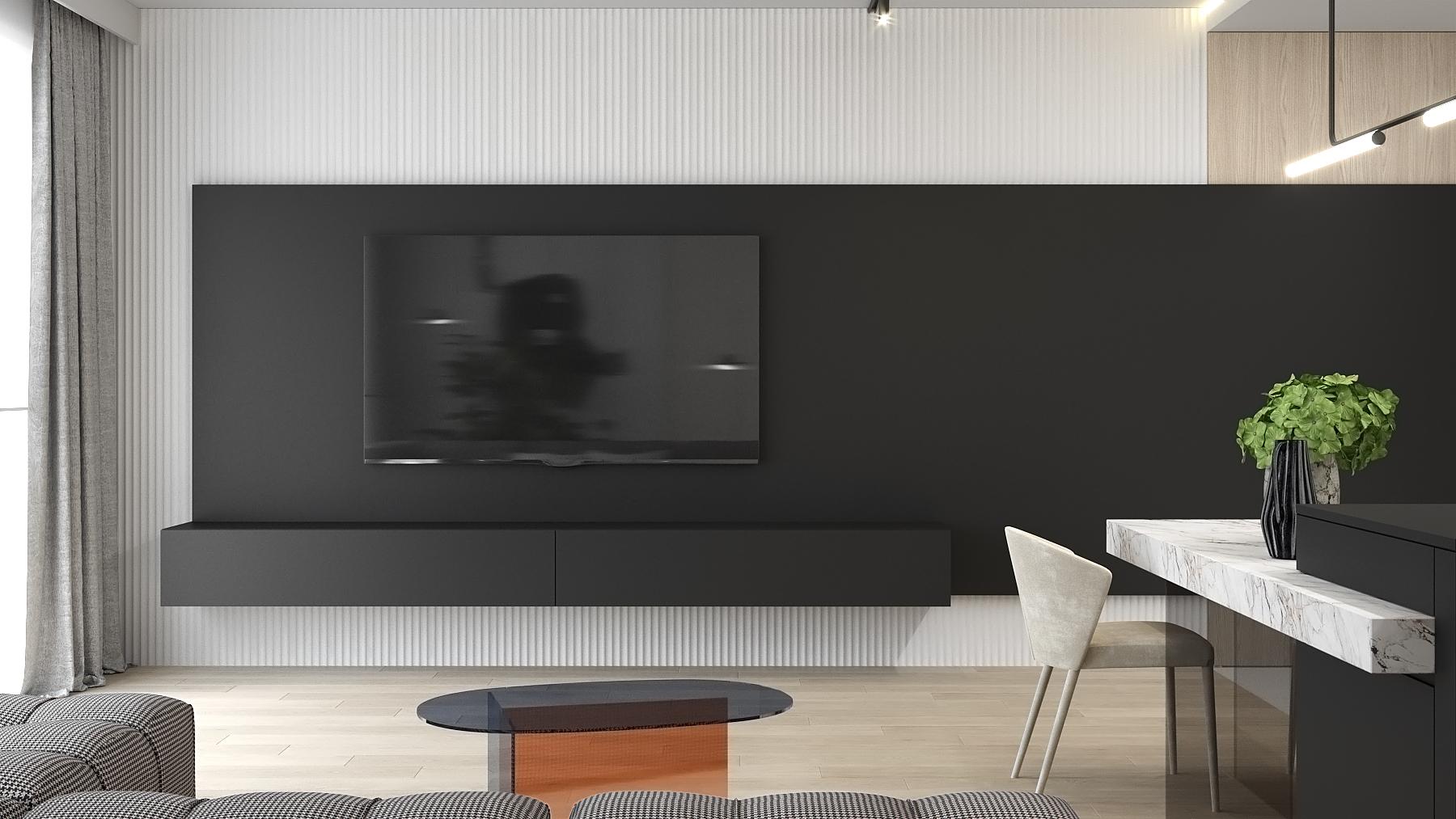 6 aranzacja wnetrz M523 mieszkanie Chorzow salon sciana telewzyjna biale lamele na scienie czarny panel na scianie szklany stolik kawowy