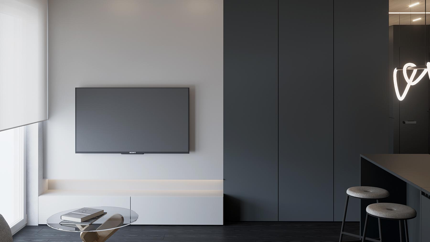 6 aranzacja wnetrz M598 mieszkanie Krakow salon zabudowa meblowa z telewizorem minimalizym czarna drewniana podloga