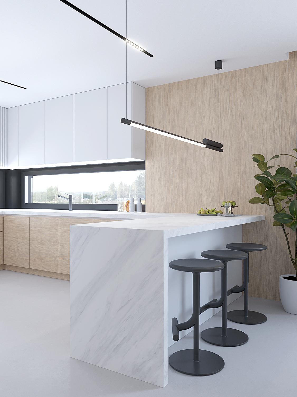 6 projektowanie wnetrz D557 dom Bibice kuchnia polwyspa z kamiennym blatem posadzka zywica szara drewno na scianie