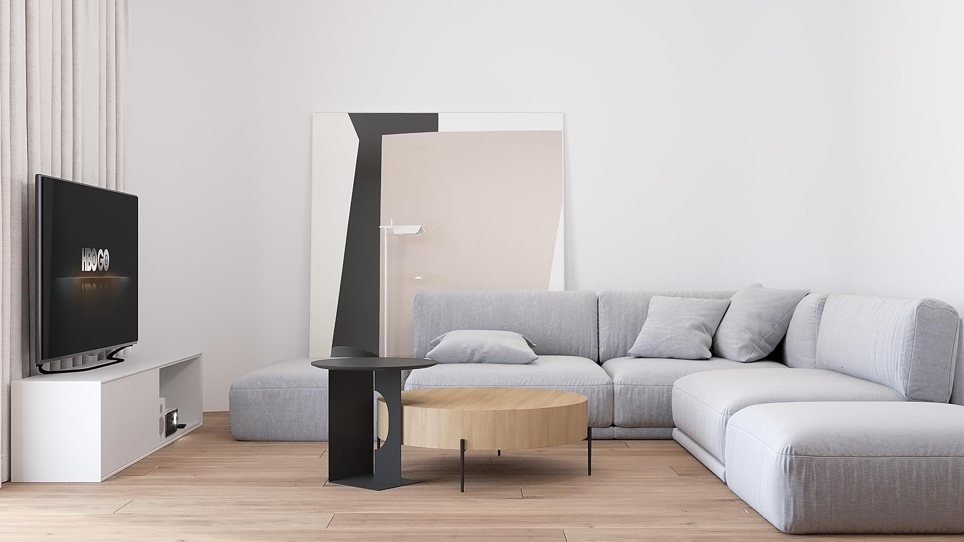 6 projekty wnetrz D495 dom Krakow salon duza sofa obraz we wentrzu drewniana podloga podwieszany sufit z rynnami