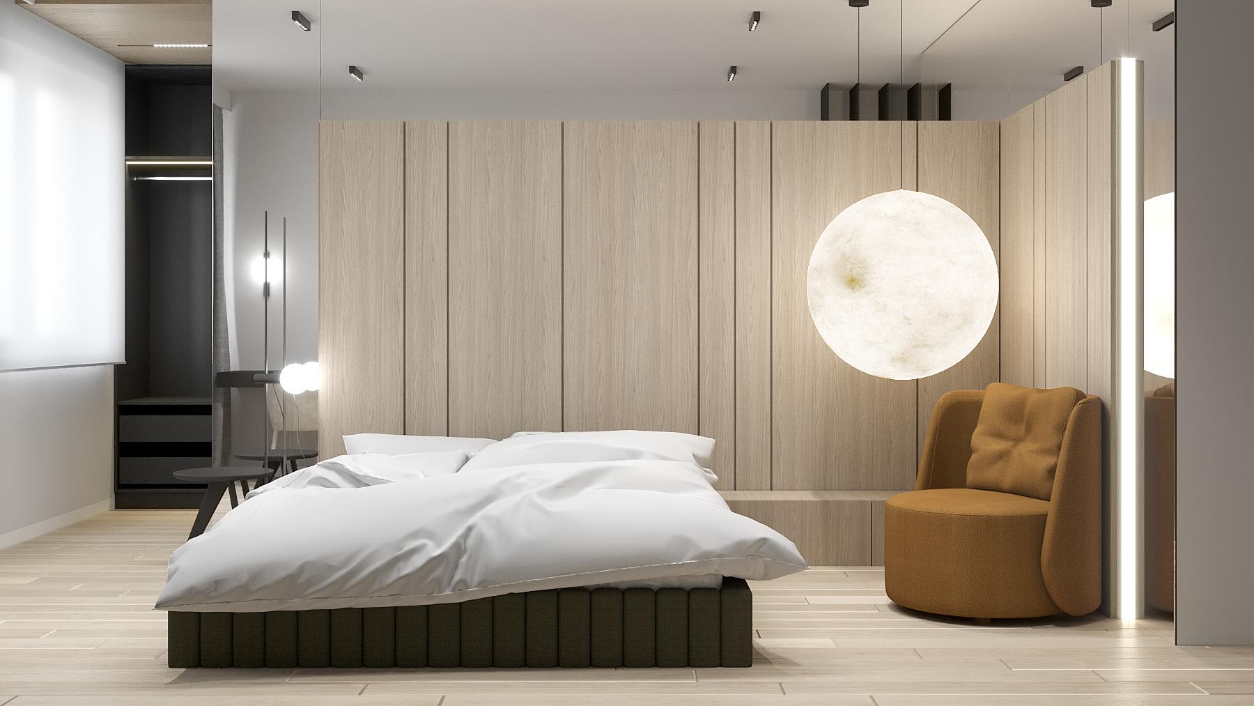 7 aranzacja wnetrz M523 mieszkanie Chorzow sypialnia lampa moon fotele w sypialni drewno na scianie tapicerowane lozko