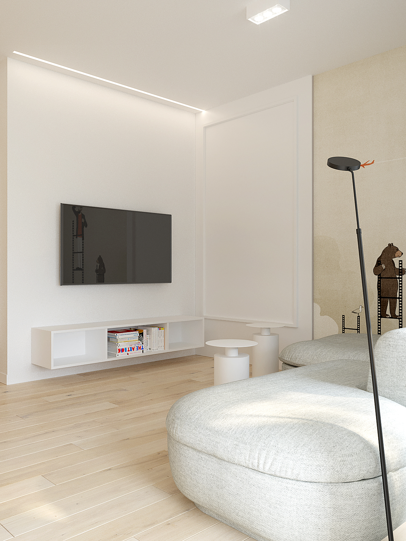 7 aranzowanie wnetrz M378 mieszkanie Katowice szara sofa sufit z podswieteniem led lampa przy sofie tapeta na scienie z grafika