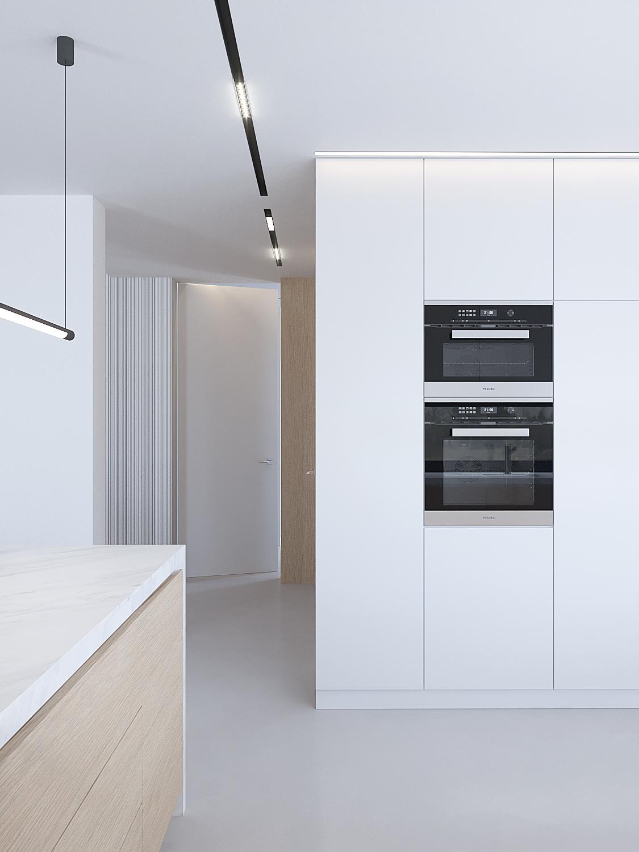7 projektowanie wnetrz D557 dom Bibice kuchnia wysoka zabudowa piekarnik z mikrofalowka w slupku zywica na podlodze