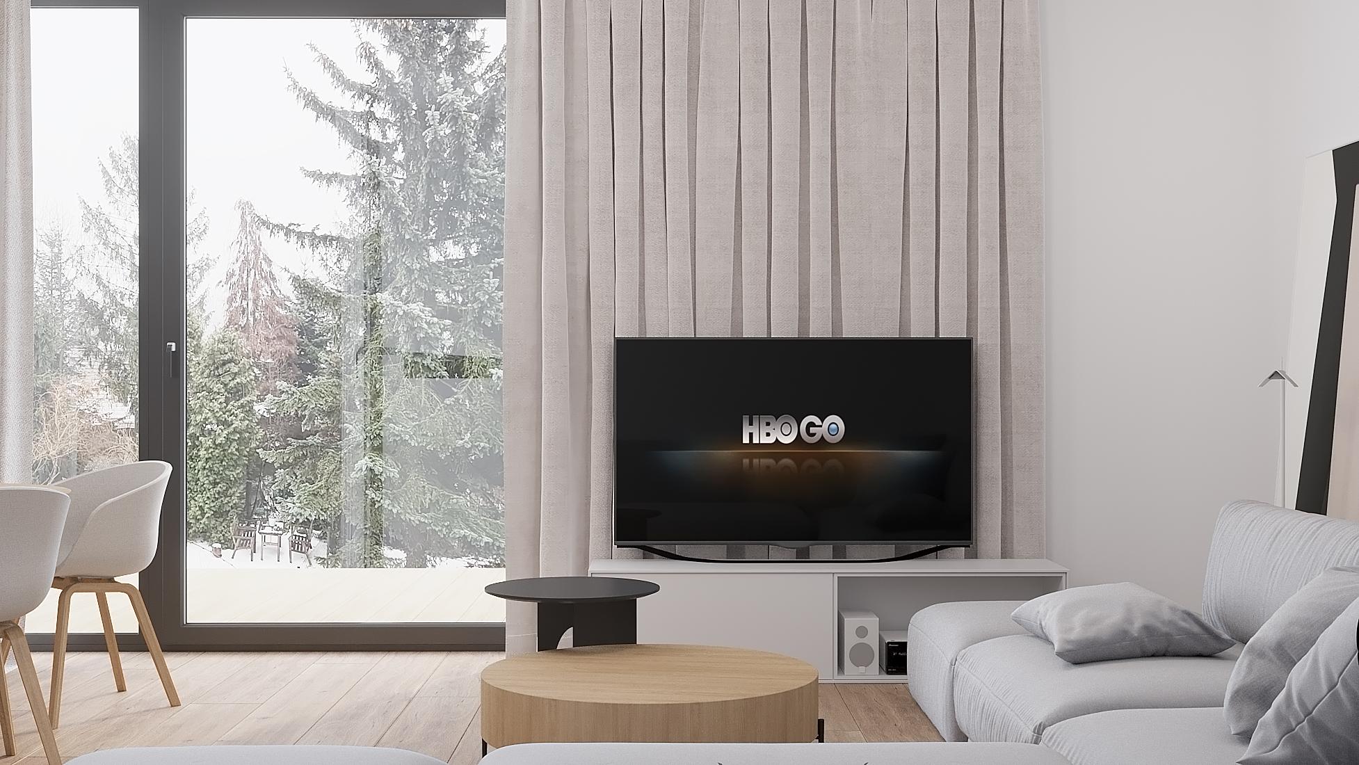 7 projekty wnetrz D495 dom Krakow salon duze okno przesuwne drewniana podloga teleziwor na scienie okiennej