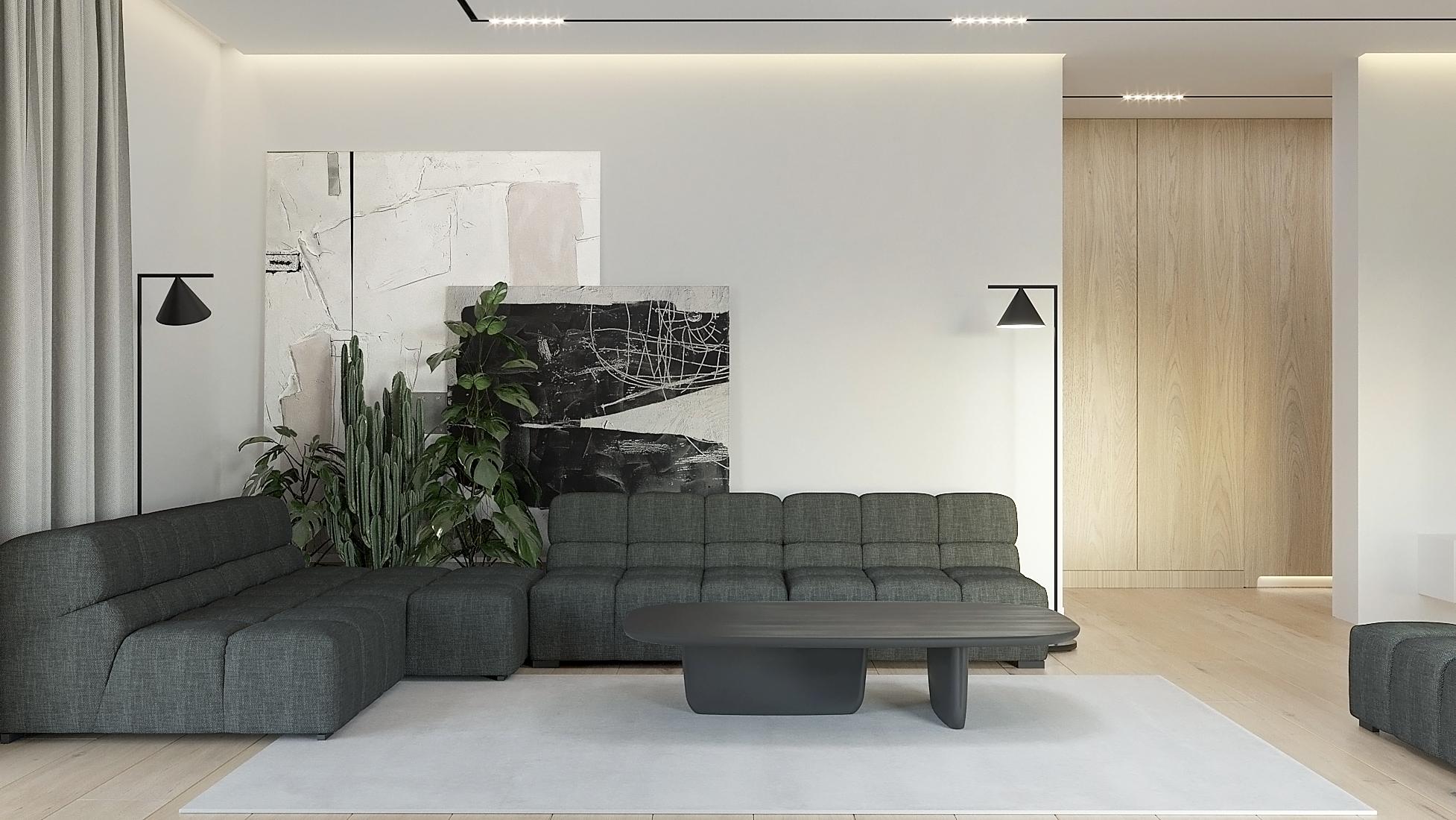 7 projket wnetrz D555 dom Libertow salon szara sofa lampa podlogowa czarna drewniana podloga
