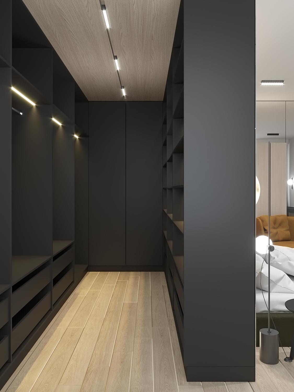 8 aranzacja wnetrz M523 mieszkanie Chorzow garderoba grafitowa zabudowa meblowa zagospodarowanie szafy garderoba w sypialni