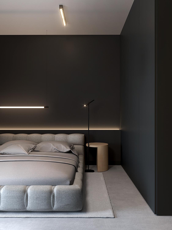 8 aranzacja wnetrz M598 mieszkanie Krakow sypialnia beton na podlodze tapicerowane szare lozko drewniany stolik nocny szafa z czarnymi frontami