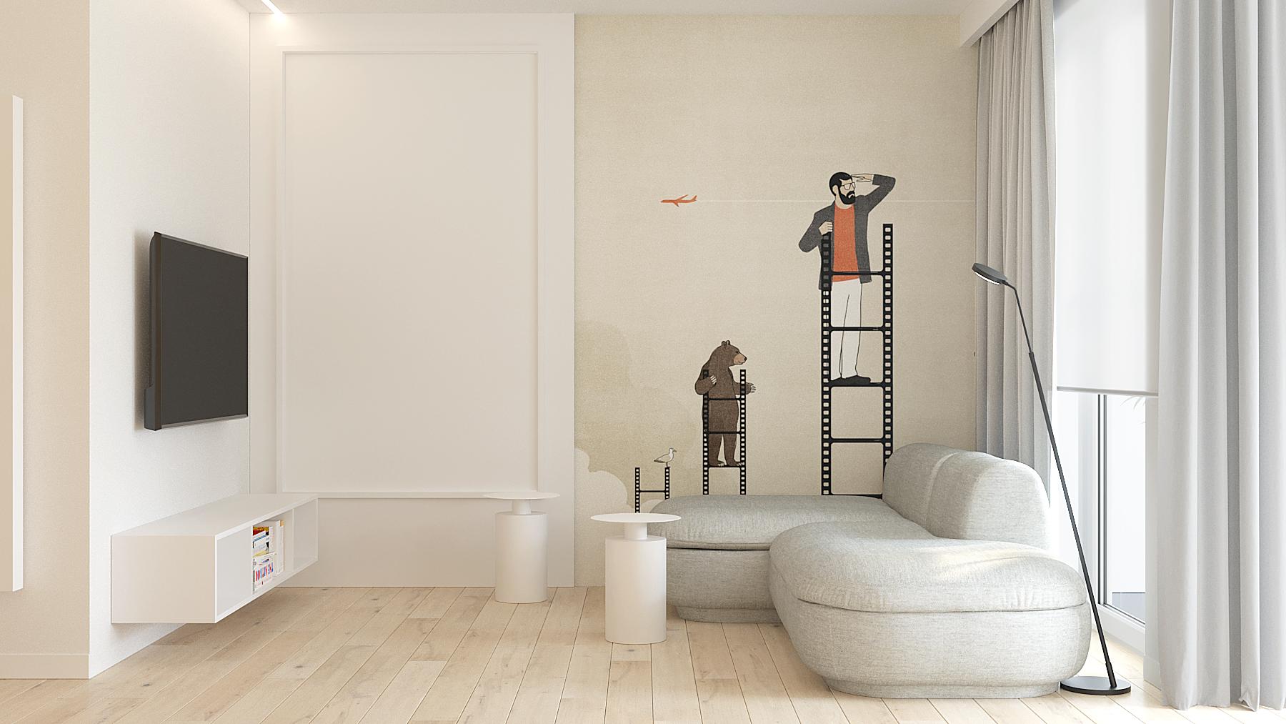 8 aranzowanie wnetrz M378 mieszkanie Katowice salon tapeta na scienie z grafika szara obla sofa okragly stolik kawowy telewizor zawieszony na scianie