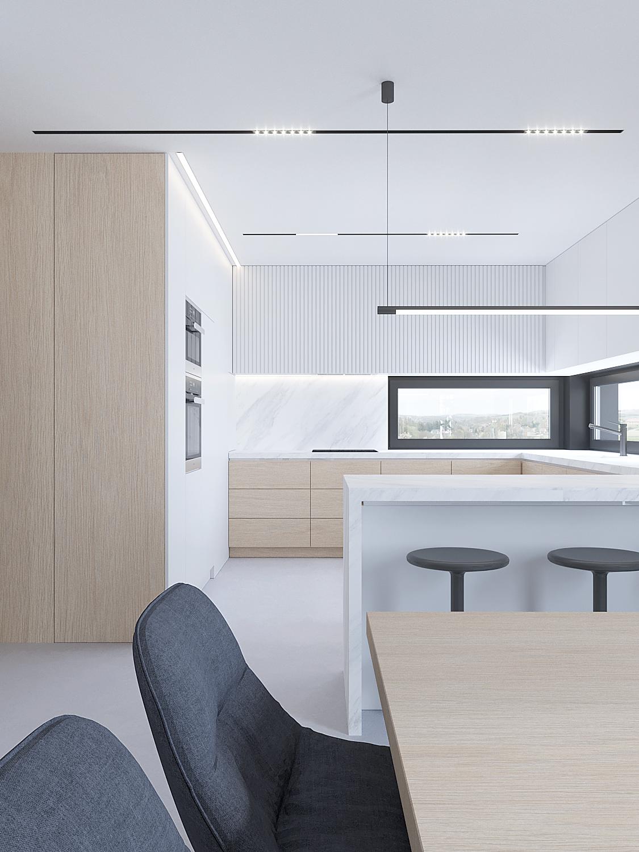 8 projektowanie wnetrz D557 dom Bibice kuchnia jadalnia drewno biale fronty ciemne szare krzesla