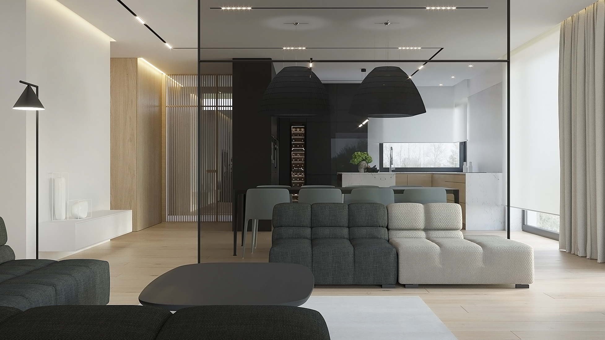 8 projket wnetrz D555 dom Libertow salon sciana szklana sofa pikowana drewniana podloga
