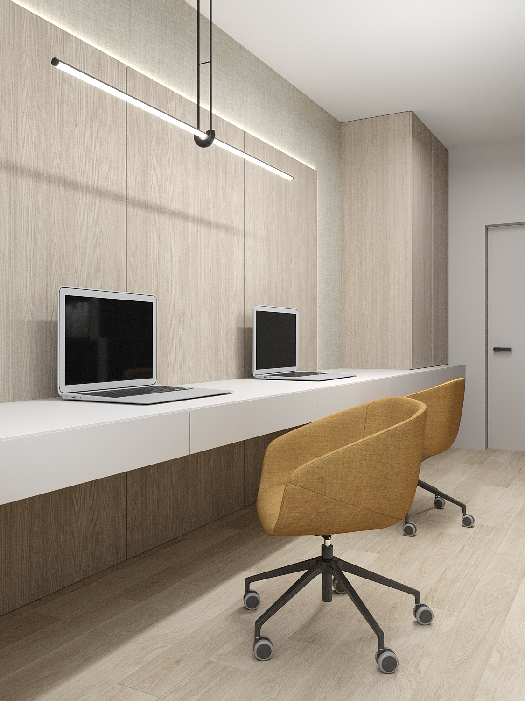 9 aranzacja wnetrz M523 mieszkanie Chorzow gabinet w domu duzy blat biurka dwa miejsca do pracy drewno na scianie lampa nad biurkiem
