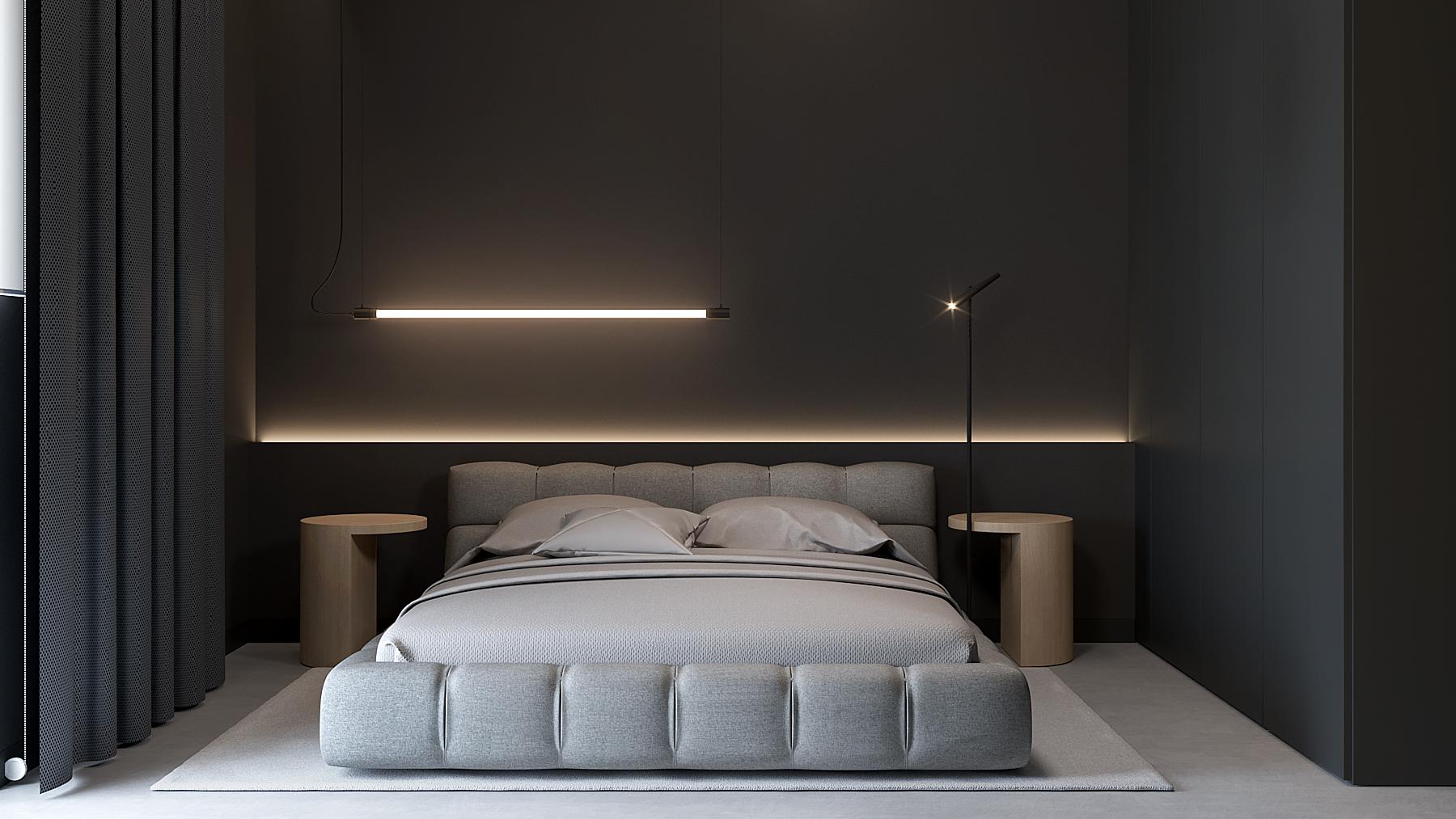 9 aranzacja wnetrz M598 mieszkanie Krakow sypialnia tapicerowane lozko podswietlany zaglowek czarna sciana lampa na lozkiem