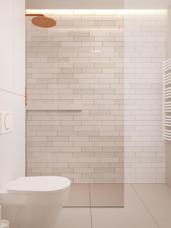9 aranzowanie wnetrz M378 mieszkanie Katowice lazienka pomaranczowe baterie prysznic walk in plytki cegielki biale