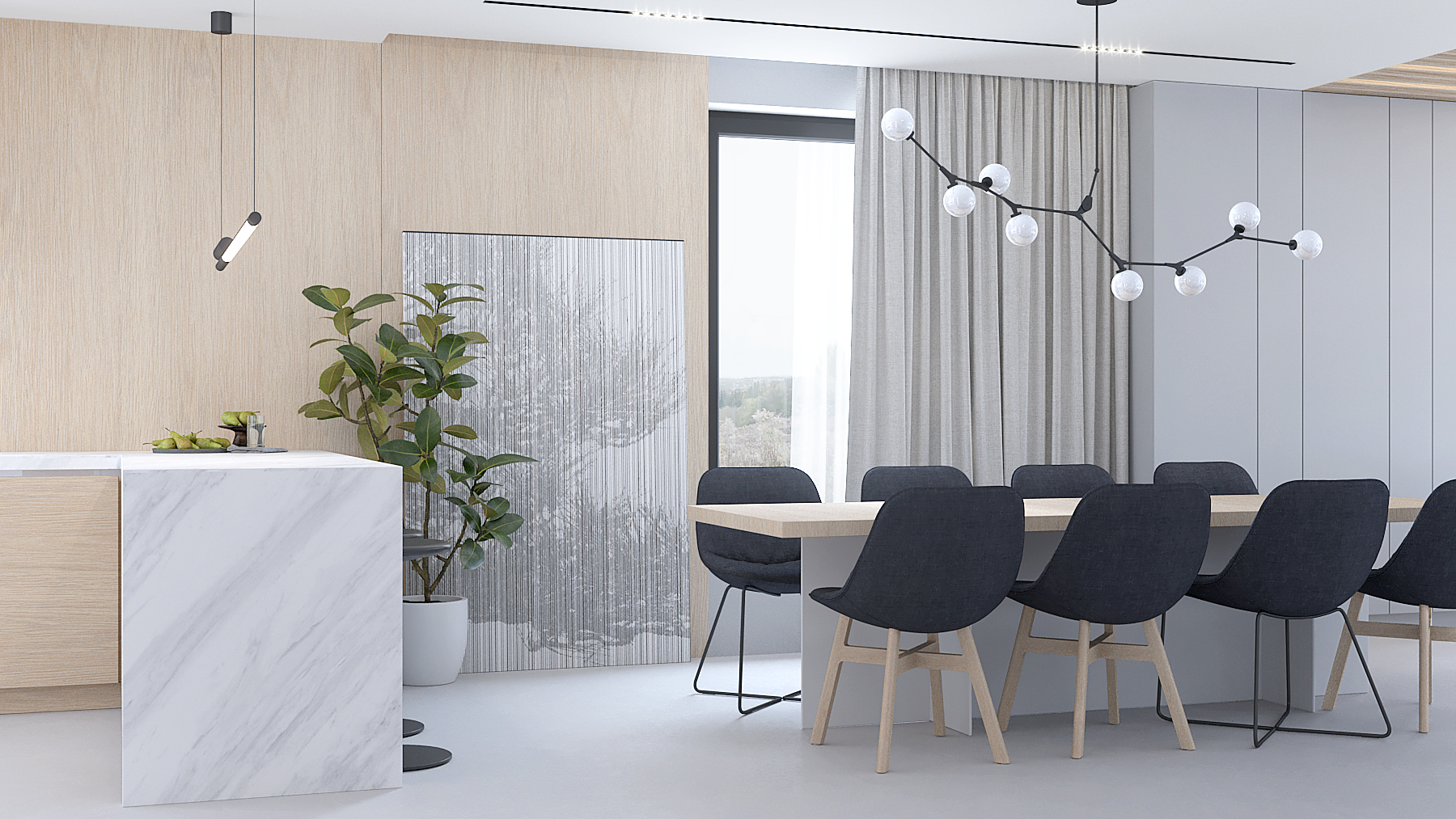 9 projektowanie wnetrz D557 dom Bibice jadalnia drewniany duzy stol szare krzesla lampa nad stolem drewno na scianie